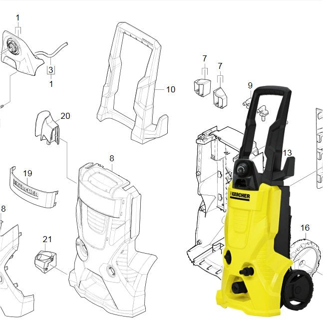 Karcher K3 550 Spare Parts Diagrams 1180132 Karcher