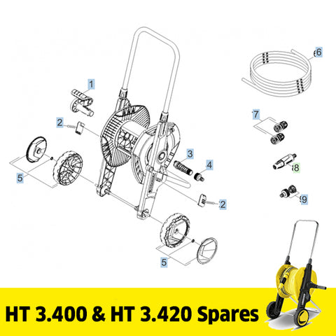 KARCHER HT 3.400 & HT 3.420 Hose Trolley Spare Parts