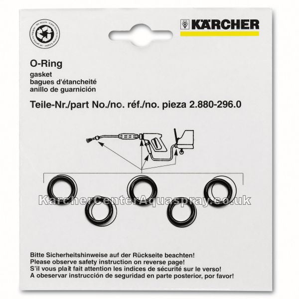 KARCHER Pressure Washer Pack Of 5 O'Rings Seal Spare Parts 28809900