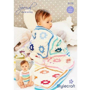 Daisy Square Crochet Blanket and Bib