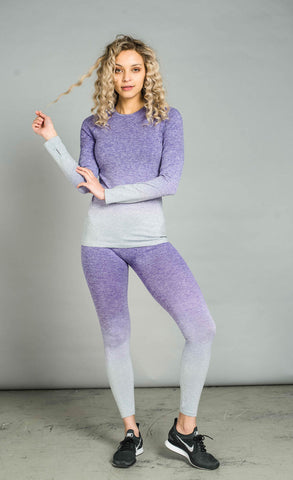 Balanced Ombre Long Sleeve Top Purple Fade