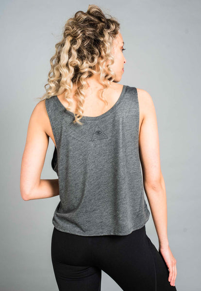 ST Balanced Yogi Crop Tank Dark Grey