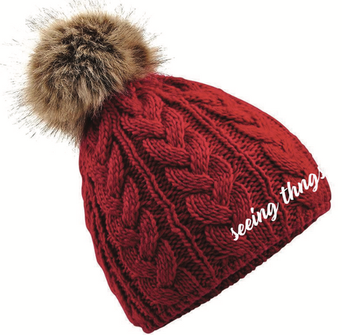 Embroidered Red Beanie