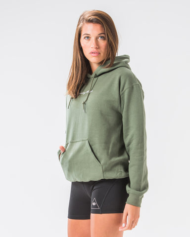 Seeing Thngs Embroidered Hoodie Military Green