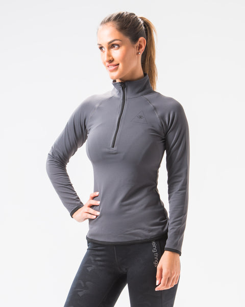 ST Zip Long Sleeve Top Charcoal