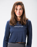 Classic Long Sleeve Crop Tee Navy