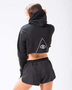 Seeing Thngs Crop Hoodie Black