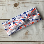 arrow headband with knot red white blue
