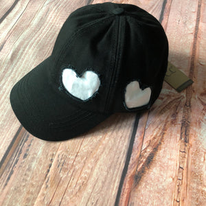 CC - Black with White Heart Patch