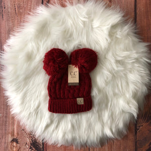CC - Red Kids Double Pom Beanie