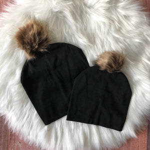 Mom and Me Fur Pom Beanie - Black