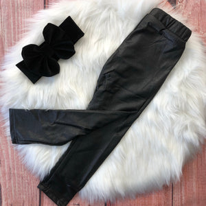 Girls Faux Leather Leggings