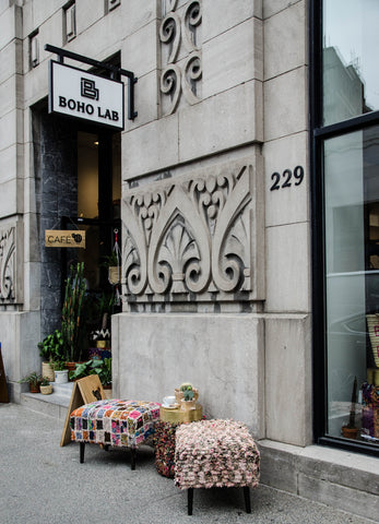 The Boho Lab Store for Moroccan rugs and home decor on notre dame street in Old Montreal