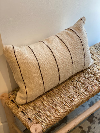 off white moroccan pillow with black stripes