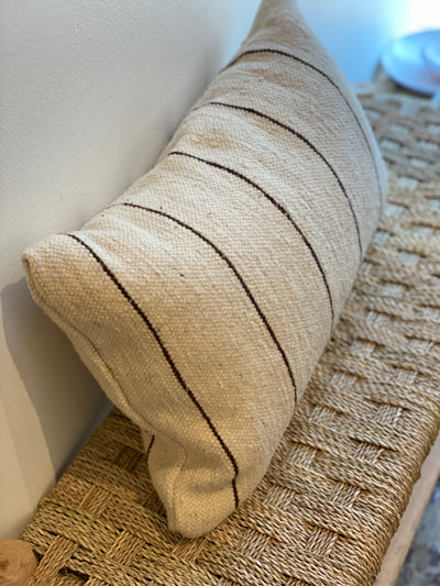 ivory handmade pillow with black thin stripes