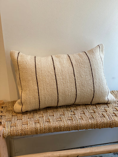 beige vintage pillow with brown stripes