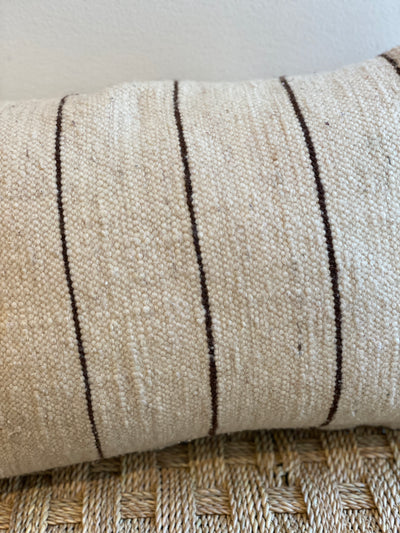 beige eco friendly vintage pillow with thin brown stripes