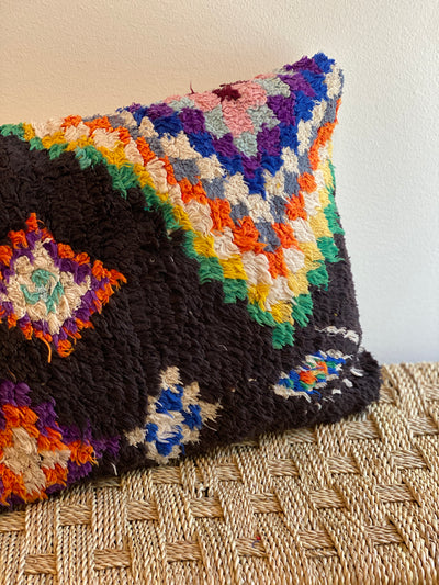 black moroccan recycled pillow