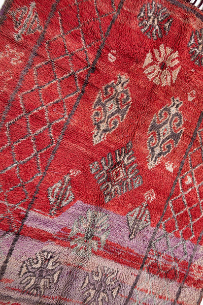 vintage moroccan rug  - purple and red antique bohemian carpet
