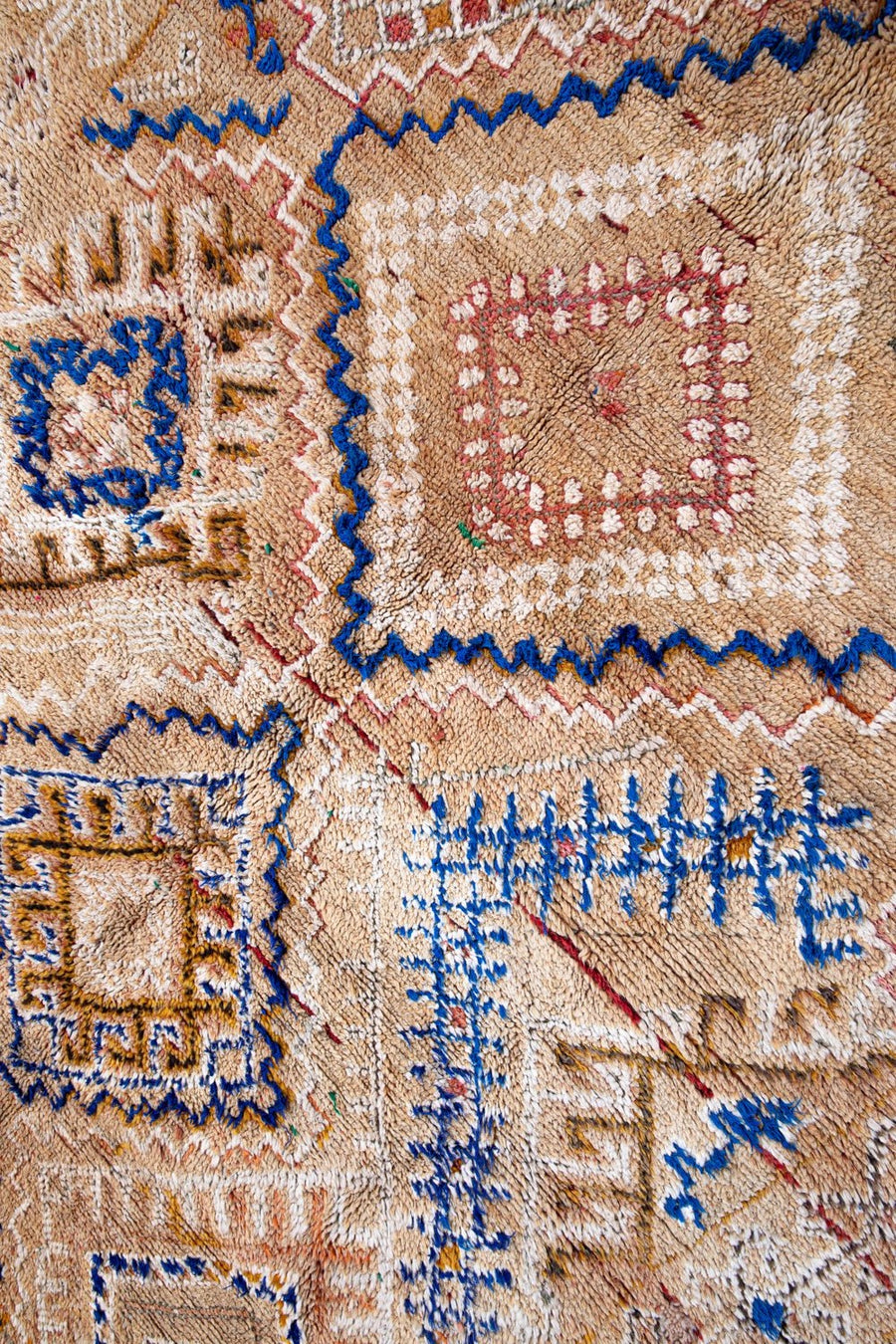 vintage moroccan rug with tribal designs - dark beige tassel area carpet