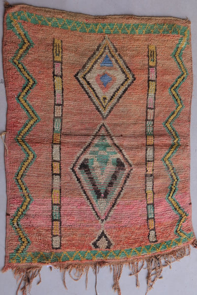 vintage red moroccan rug with green tribal berber signs and design , perfect for accent rug in a living room or bedroom, wool is easy to clean