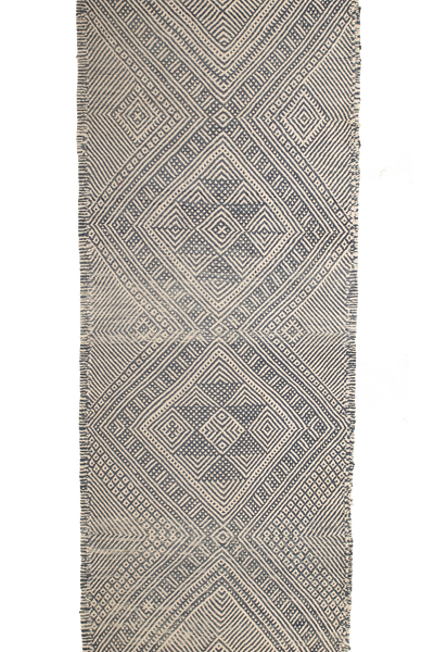 Kilim Runner Rug with Geometric Design With Tassels