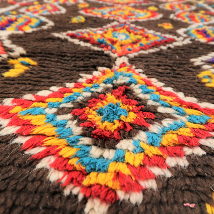 Large runner vintage azilal rug brown red blue yellow rug moroccan rug