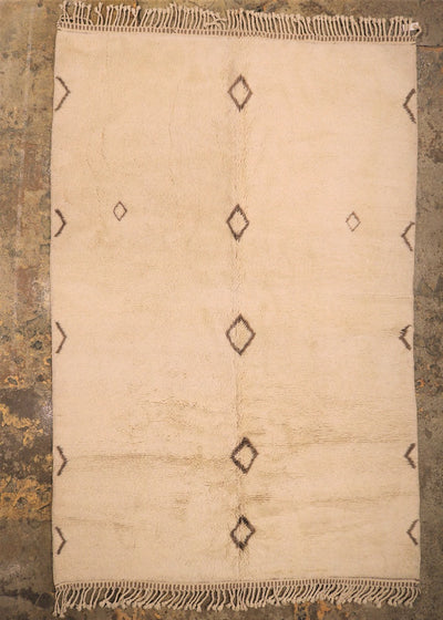 beige luxurious beni mrirt rug with brown diamonds, moroccan wool carpet