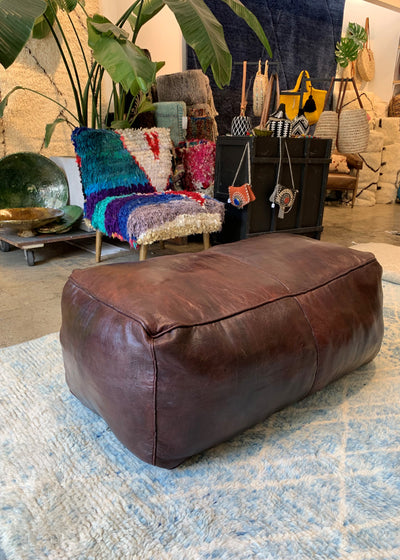 Long Leather ottoman Moroccan Pouf | Dark Brown