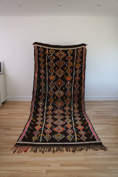 vintage moroccan rug brown diamond colour motif toronto