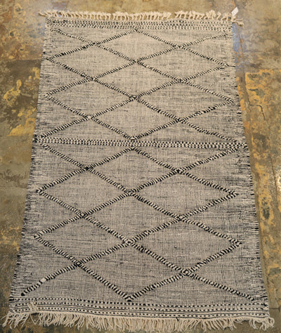 Kilim Area Rug with Geometric Design and Tassels