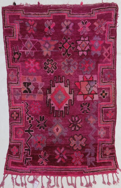 vintage pinky red large area moroccan rug with tribal berber signs and design , perfect for accent rug in a living room or bedroom