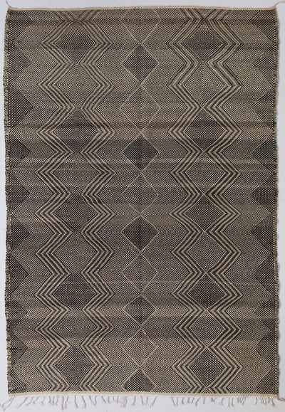 Kilim Area Rug with Abstract Design with Tassels