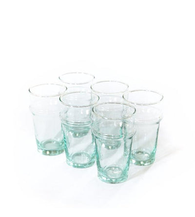 Set Of Six Small Recycled Glasses