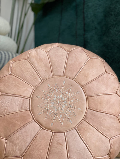 Leather Ottoman Round Moroccan Handmade Pouf Beige
