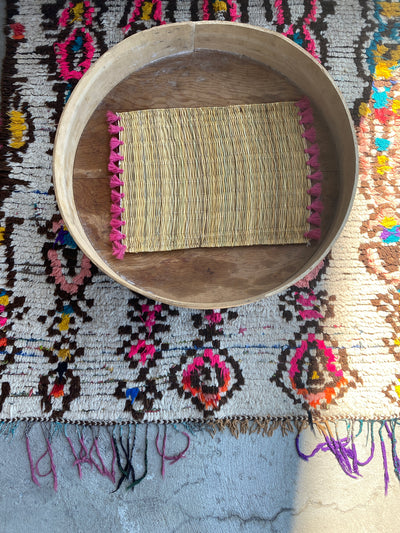 Set of Two Moroccan Handmade Straw Placemat Pink