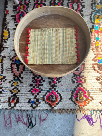 Set of Two Moroccan Handmade Straw Placemat Red