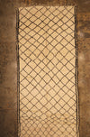 Large Vintage Cream Beni Ourain Moroccan rug with unusual design