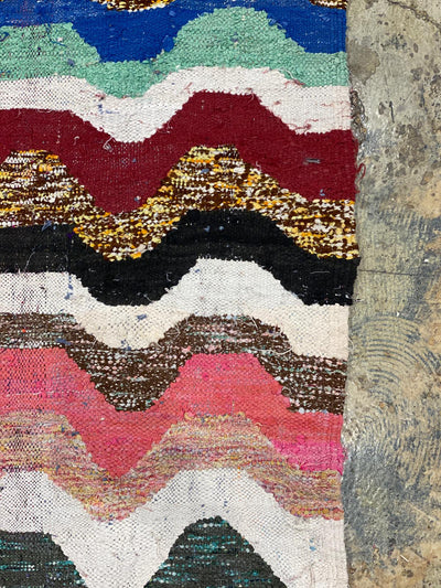 bohemian rug with colorful wave patterns