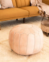 Moroccan Leather Pouf | Natural