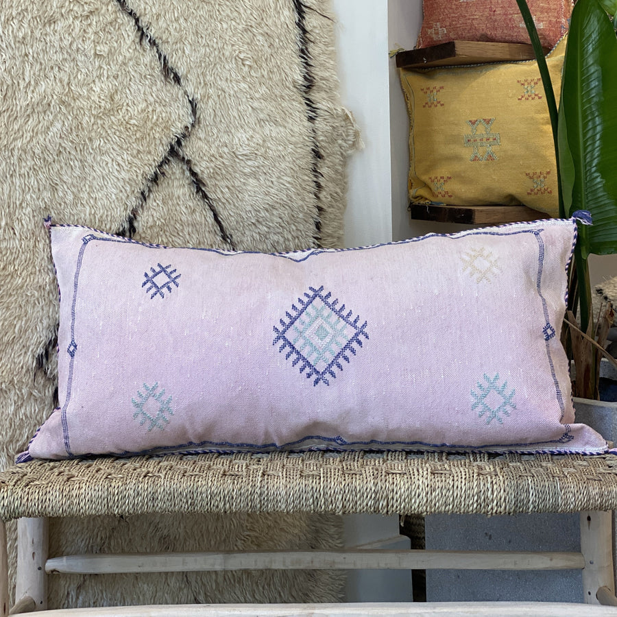 Cactus Silk Pillow Cover Bohemian Geometric Design Light Pink