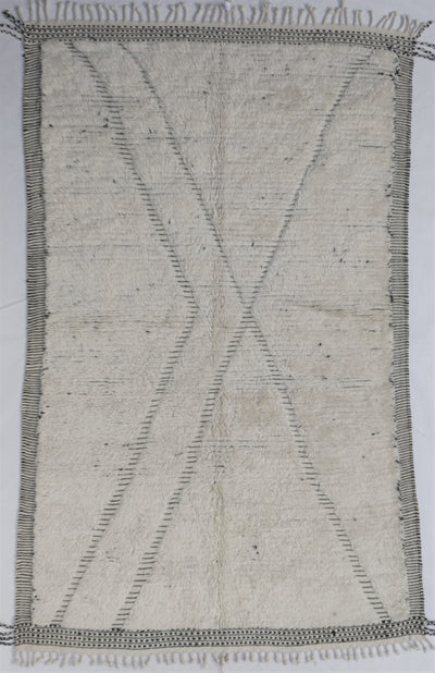 area soft wool rug, high quality material off white with abstract  design lines and tassels, authentic handmade from morocco, perfect for layering in a living room or under dining table, bedroom
