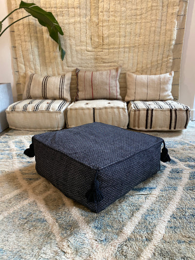 Square Cotton Pouf | Black - SQ101
