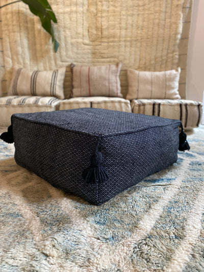 Square Organic Cotton Pouf Black