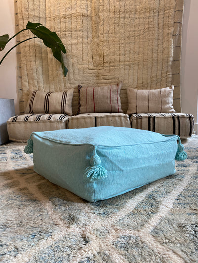 Square Organic Cotton Pouf Blue