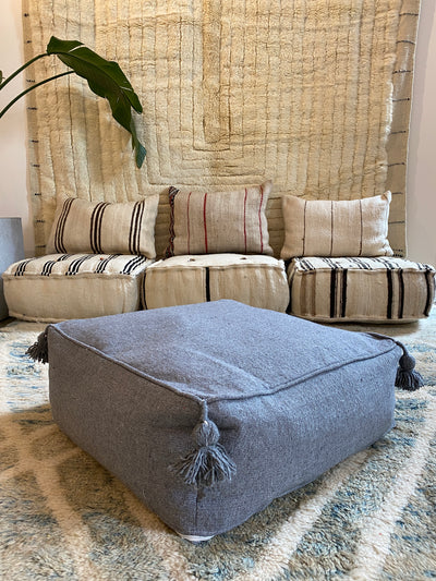 Square Organic Cotton Pouf Dark Gray