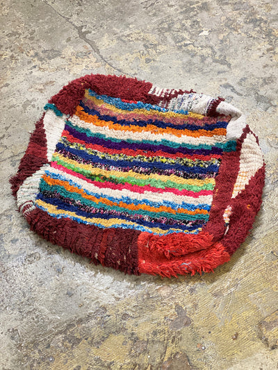 Red Moroccan Bohemian Pouf with Colored Stripes