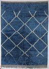 area soft wool rug, high quality material, blue with abstract design white  lines and tassels, authentic handmade from morocco, perfect for layering in a living room or under dining table, bedroom
