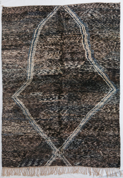 area soft wool rug, high quality material, dark brown with abstract  design white lines and tassels, authentic handmade from morocco, perfect for layering in a living room or under dining table, bedroom