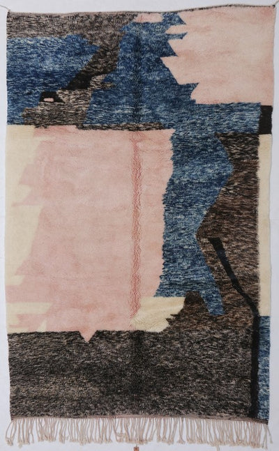 black pink blue area rug wool beni ourain carpet